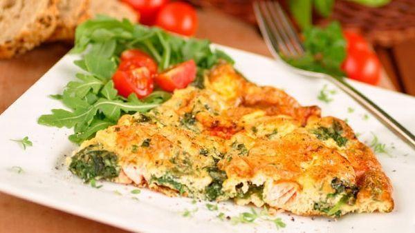 Frittata mit Lachs und Spinat